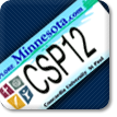 License Plate button, image of Minnesota license plate with CSP12 as the number